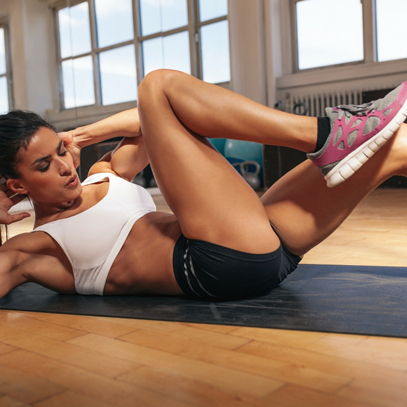 Stomach exercises bicycle crunch