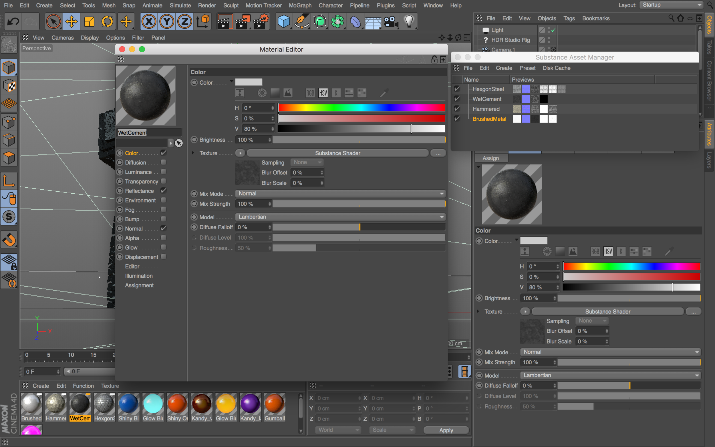 4)  You can now edit the  Substance Materials attributes  in the  Cinema 4D Material Editor