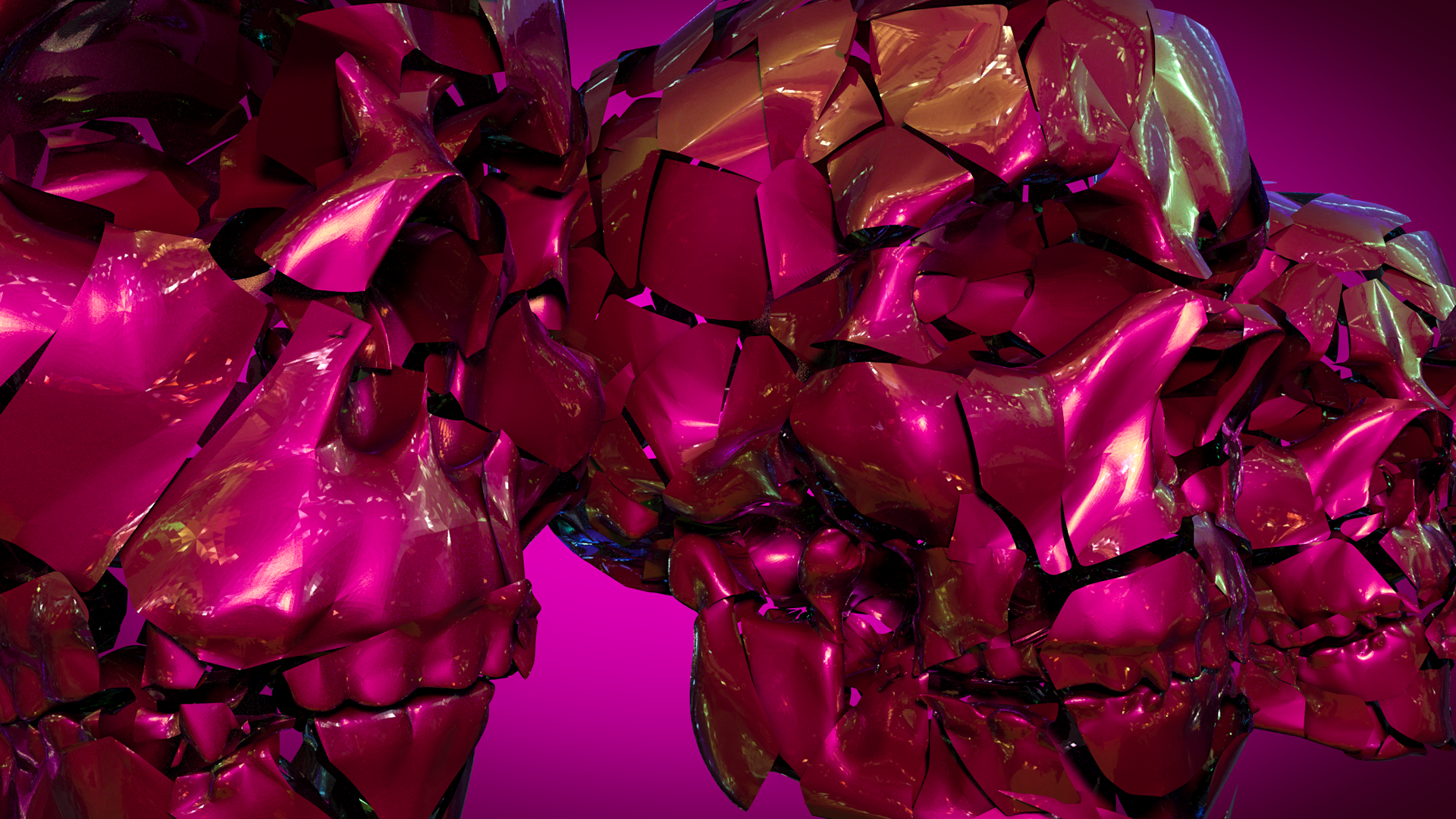 Voronoi Fracture with a   Thinfilm Shader Material ,  rendered with   Inverted AO