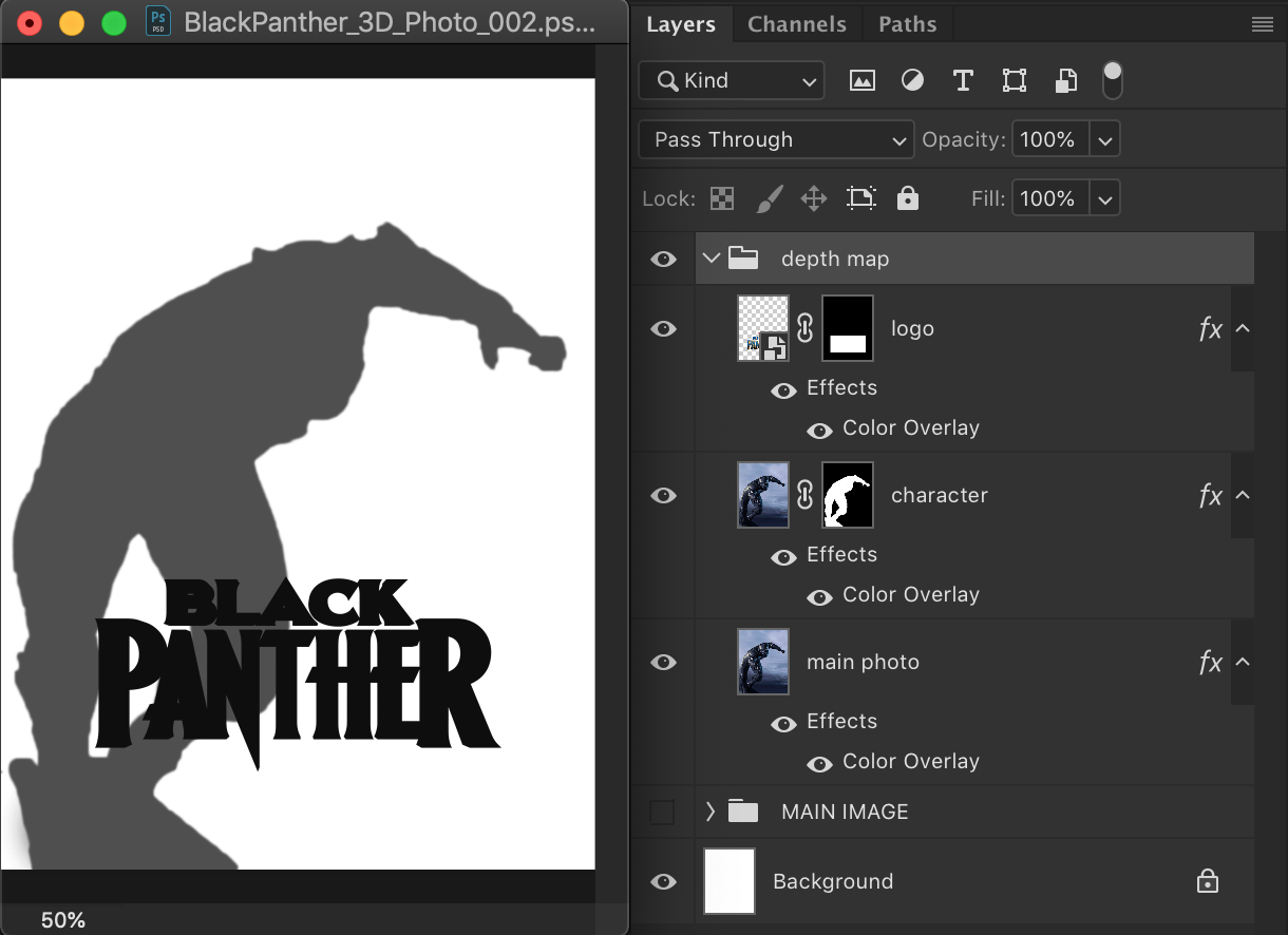 Duplicate all layers, and create a duplicate of the layout using black, white and grays. White being the background, black the foreground, and gray the layers in between.