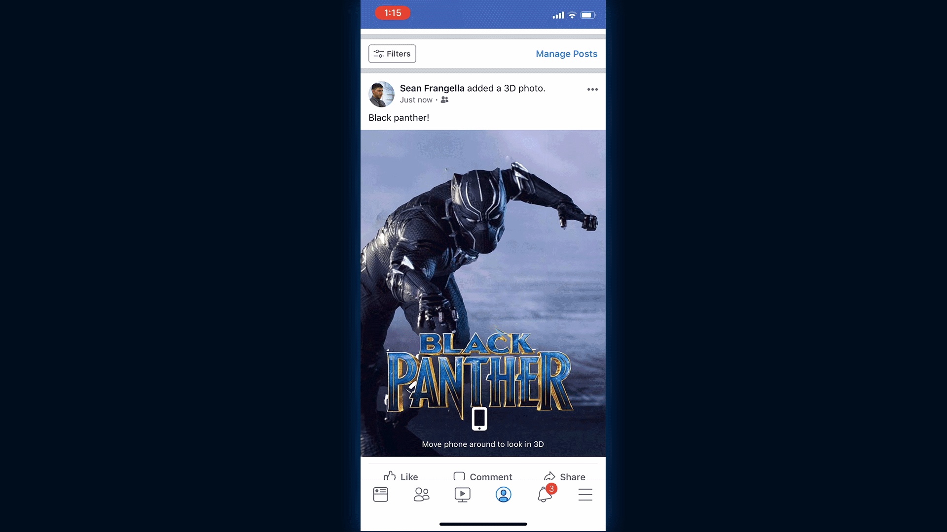 The 3D photo will now appear in your Facebook feed!