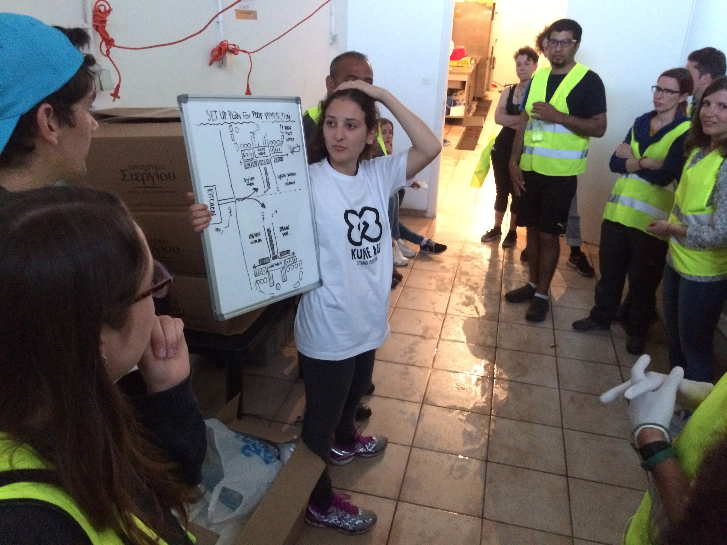 Lisa erklärt den Volunteers unser Verteilsystem