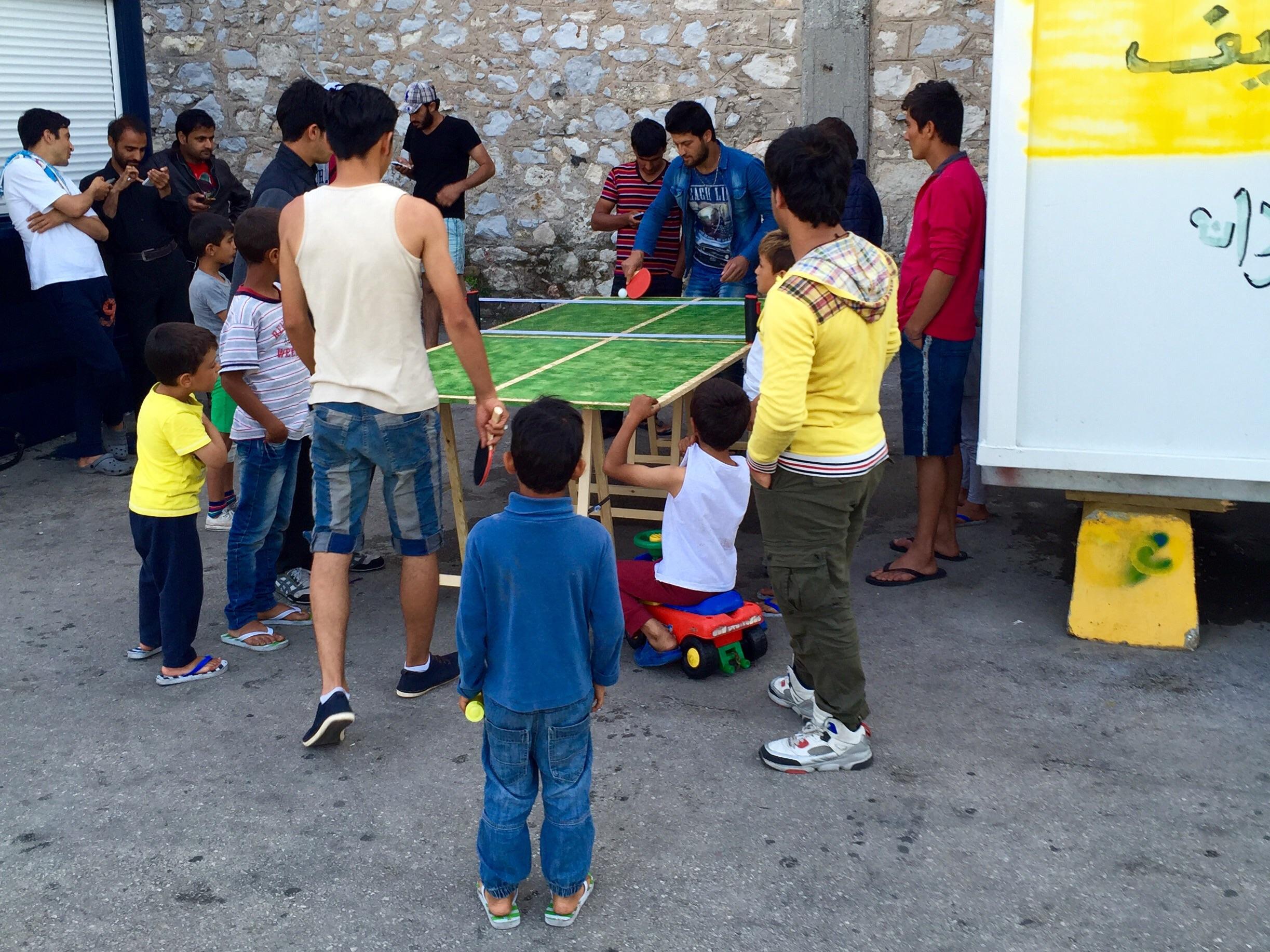 Das erste Turnier mit dem neuen Pingpong-Tisch.