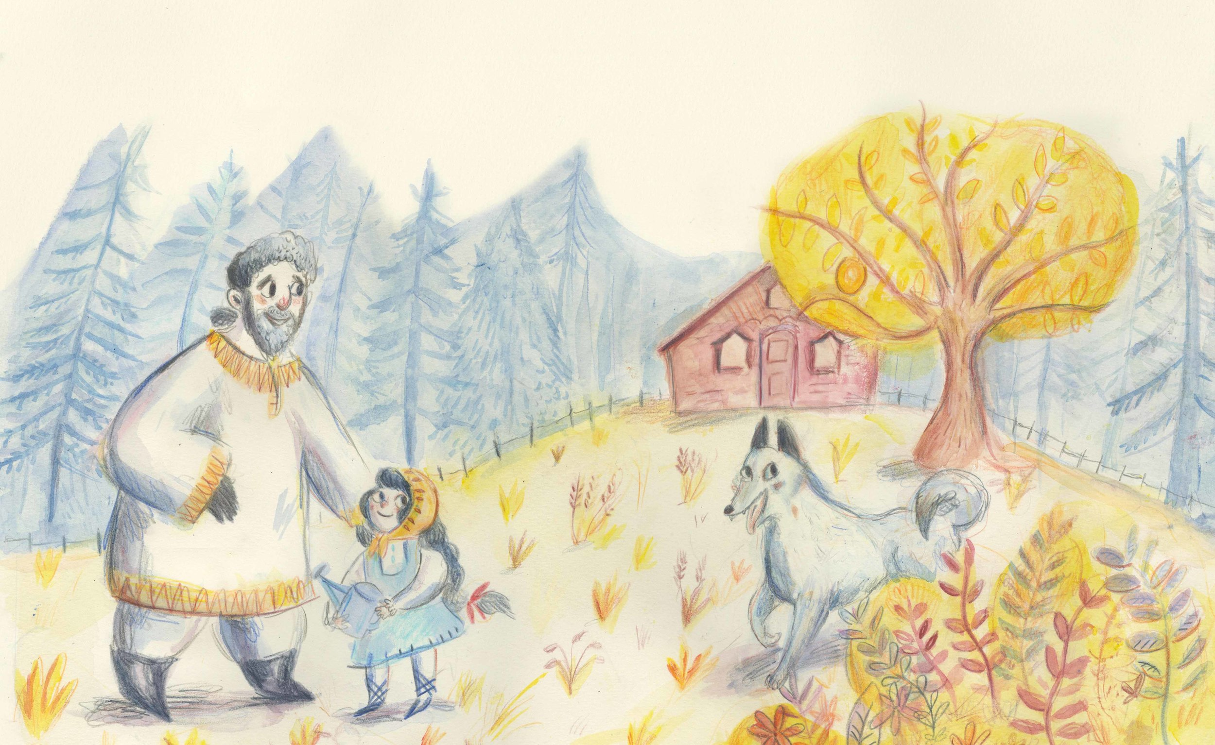 Double page spread from my children's book 'Ivana and the Firebird'.