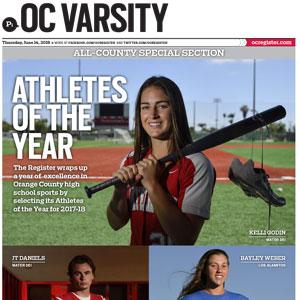OC VARSITY Awards Section   The Orange County Register June 14, 2018