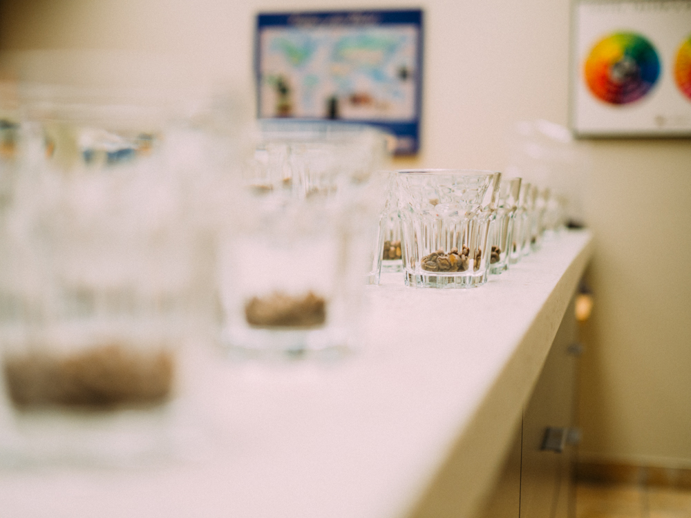During the cupping process, three cups of each roast are tasted to ensure consistency.