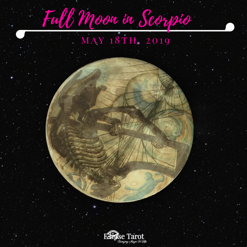 This Full Moon illuminates the last decan of Scorpio, so it brings with it a vibration of closing, ending a cycle more completely than an ordinary Full Moon phase might. This zone of the zodiac is eerie, steeped in superstition and mystery…. and it's getting lit up with these maxed-out moonbeams. The 7 of Cups rules this realm of the cosmos revealing unpleasant truths… and that's putting it lightly. This one is deep, and possibly disturbing, yet essential to our growth, evolution and ultimately, individual empowerment. It is a culmination of the energies set into motion with the  New Moon in Scorpio last November .