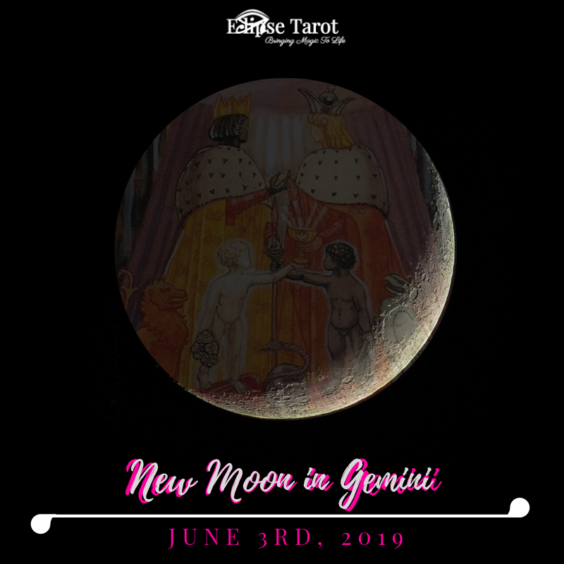 June's  New Moon in Gemini  (Decan II) aligned with the  9 of Swords  serves up an invitation to get in the right frame of mind and clear up any cluttered (dangerous) thought patterns that lead to suffering in one way or another. A positive mental shift is on tap when we bring awareness to the inner-workings of our psyche and take action to get more emotionally secure with the way things are and what we have the power to change. We can release guilt, shame and feel more alive with this one, when we pay attention to where our head's at.