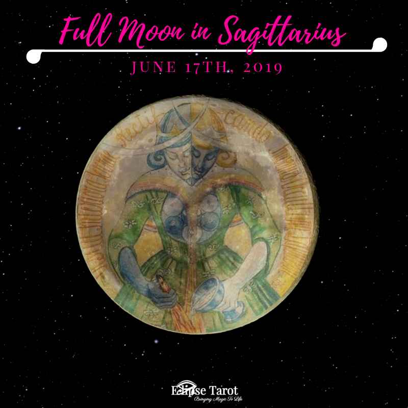 "This bold Full Moon happens in Sagittarius (Decan III) near the  Galactic Center  and the influence is that of the  10 of Wands . These expansive moonbeams are a culmination of the energy initiated at the end of last year with the  New Moon in the same sign  that I called a "" revision quest "". Our journey may be revealed to us in living color now, and we may see where we've gone overboard or become too all-over-the-place to travel in a desired direction that feels not only fun, but truly meaningful and on-target with our destinies, and also how we may be living in fear of punishment…"