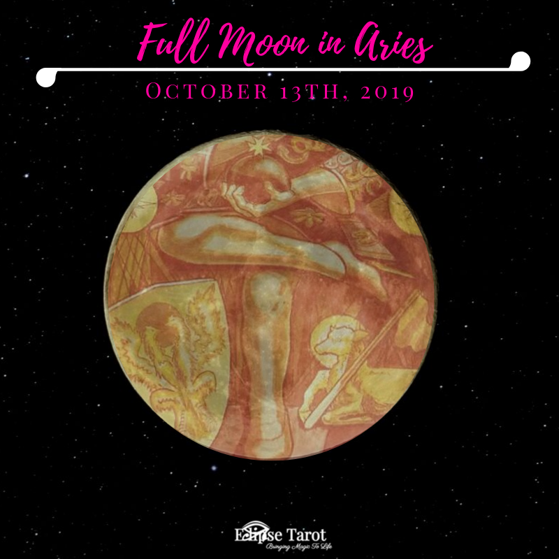 We get a seriously captivating sneak-peek at 2020 with this Full Moon in  the final decan of Aries , aligned with the  4 of Wands . Sparks fly with this bold Moon in the sign of  The Emperor,  aspecting both the outer-most planet and the largest planet in our Solar System. We may feel pulled back into the dark forces of the past by  Pluto , but we've got boat-loads of blessings and support from  Jupiter , opening us up to discovering a new mission that ignites our passion and propels us into exciting new directions.