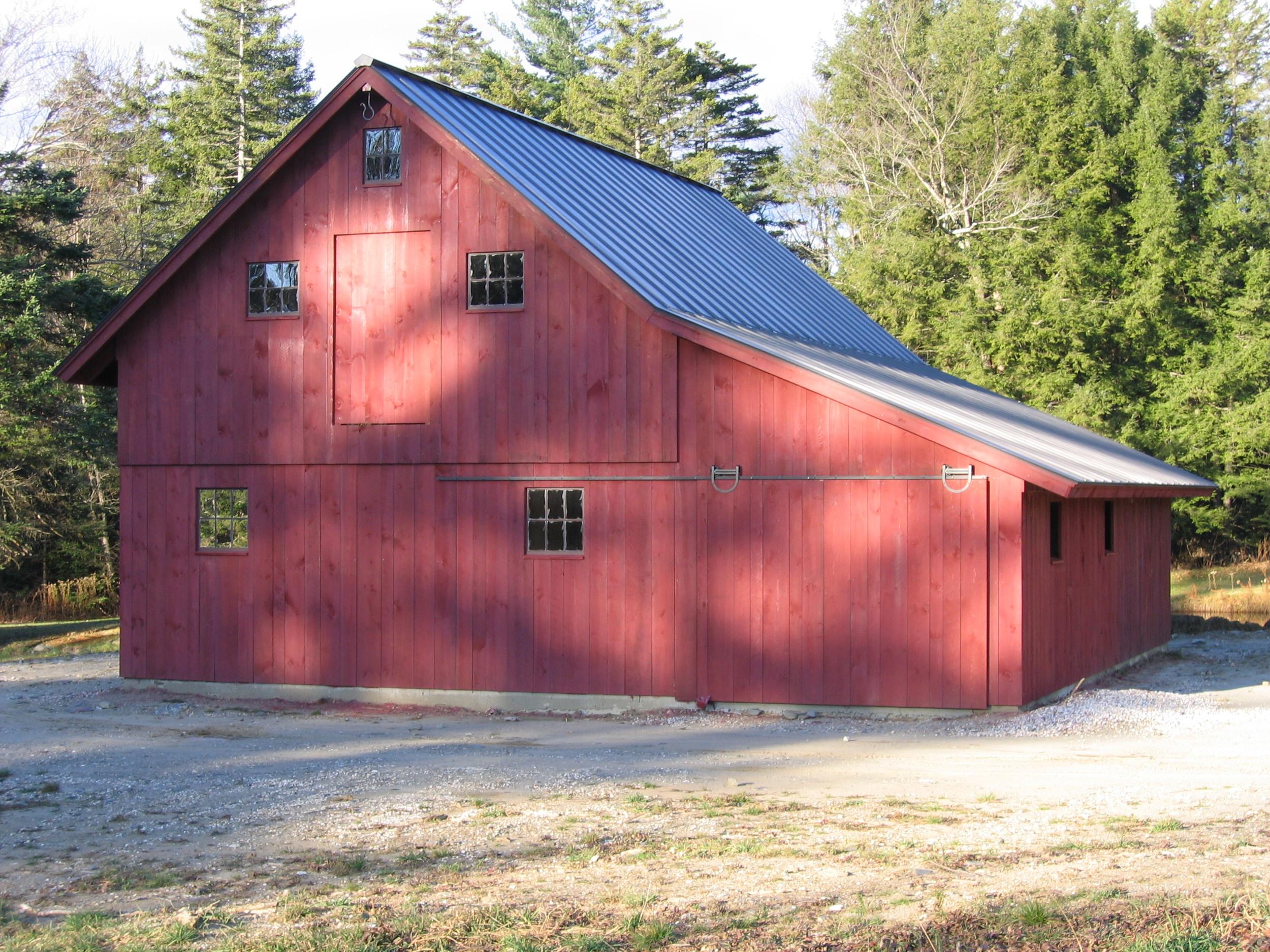 New timberframe barn, Hawley MA
