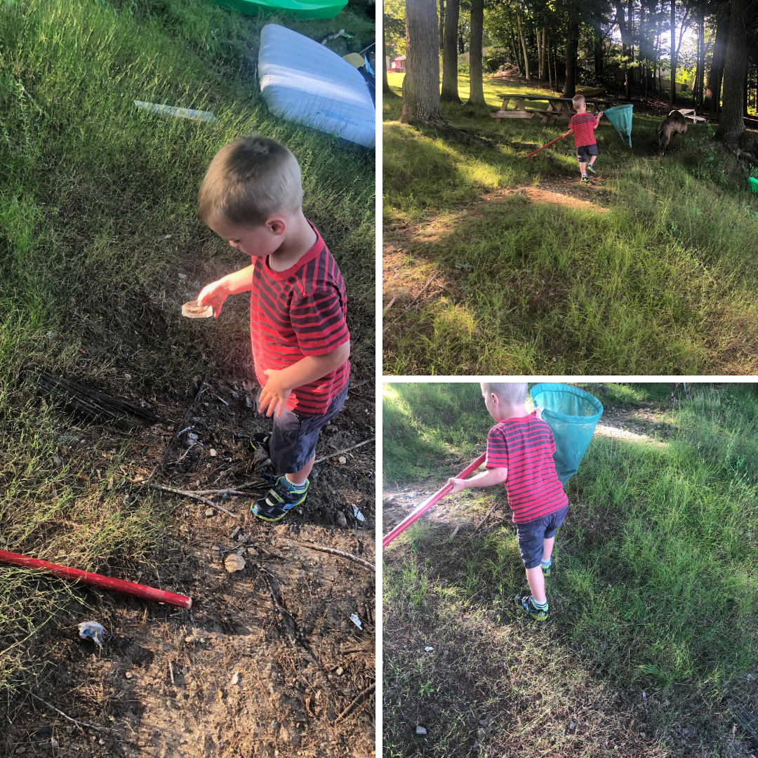 My youngest was very excited to pick up litter and we ended up doing a bit of it everyday. Our first day, though, we forgot a bag and found a fishing net to temporarily hold what we found on our daily walk.