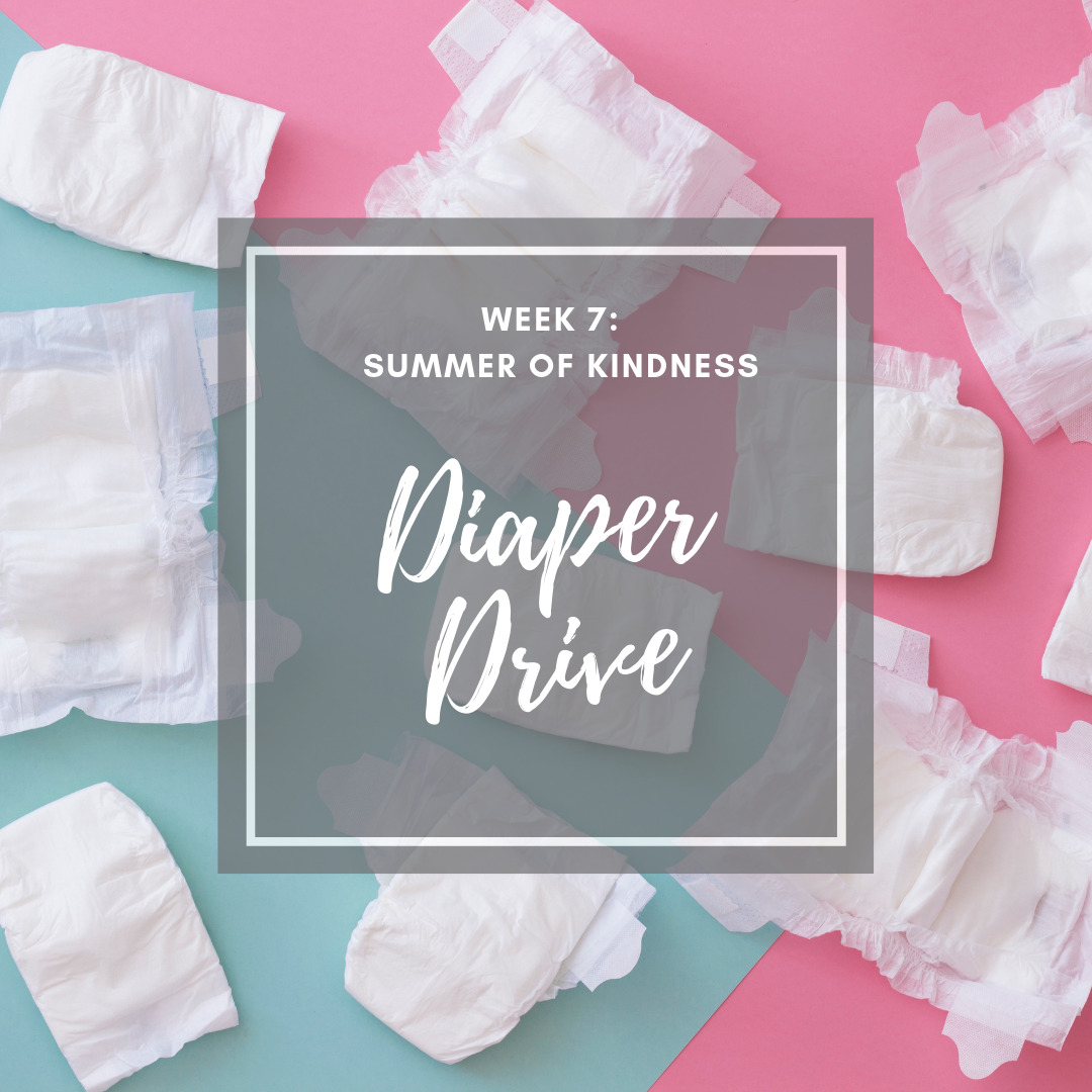 Summer kindness activity for kids diaper drive