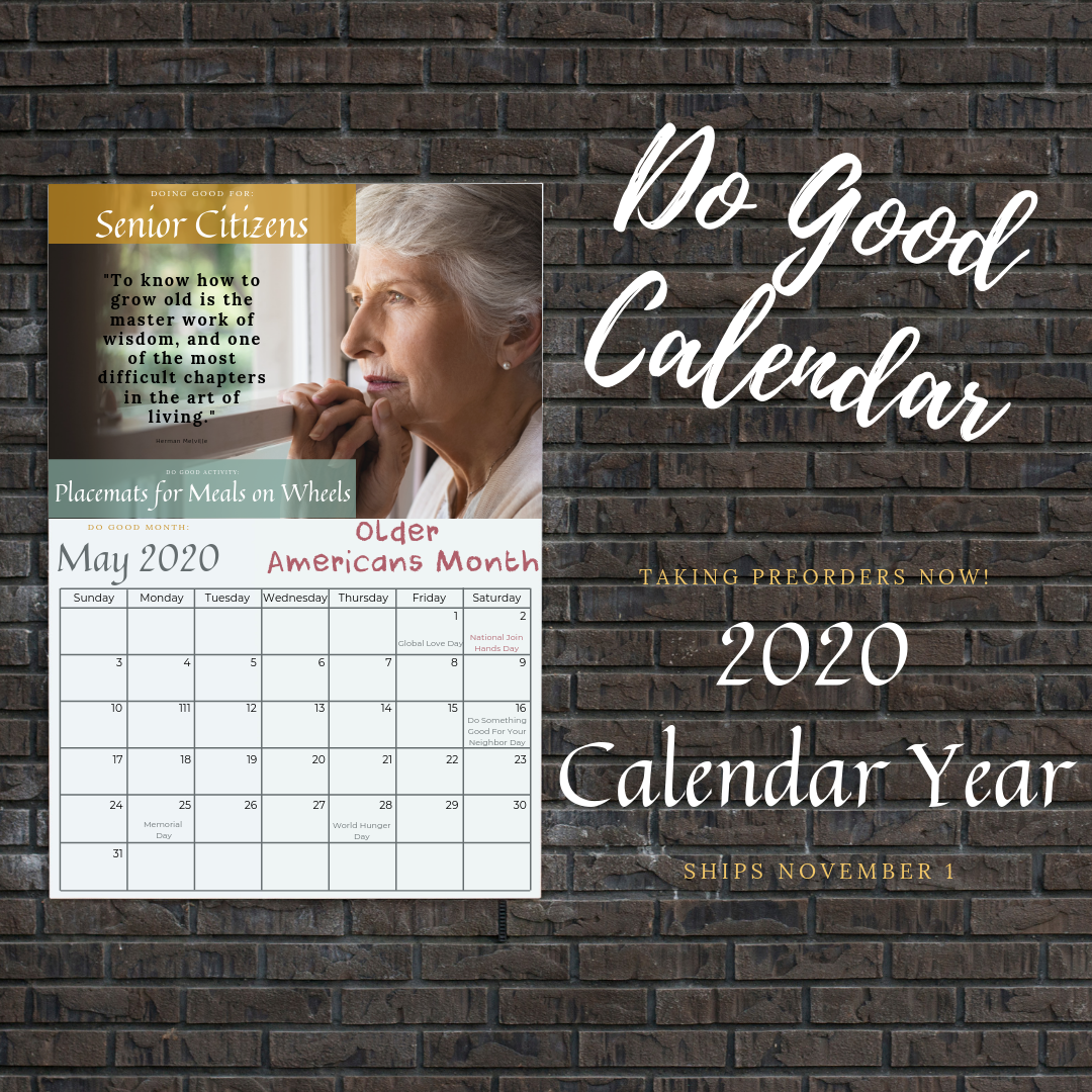 Doing Good Calendar with monthly kindness activities for kids