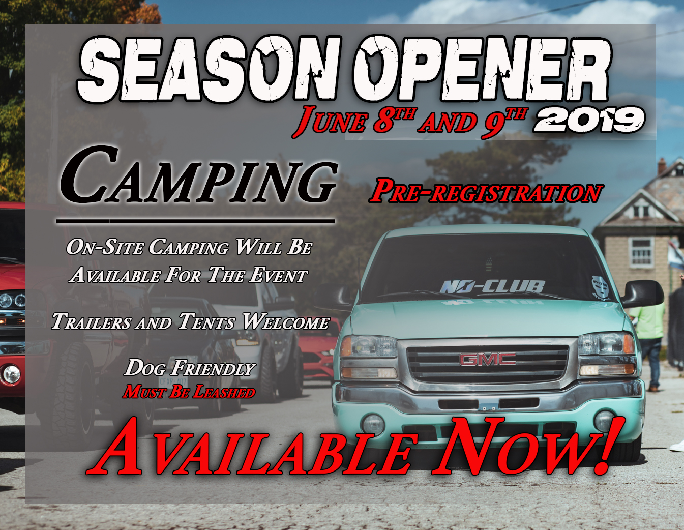 Season Opener 2019 Camping Available Now.Click Link Below To Reserve Your Spot! - Move-in will be on Friday from 12:00pm until 9:00pm; resuming Saturday morningRV Campsite - 30 amp electric & water | $90.00 |RV Campsite - 15 amp electric & water | $80.00 |RV Campsite - No Utilities | $70.00 |Tent Site - No Utilities | $ 60.00 |Prices are based on a 2 Night Stay, there are no 1 Night optionsNo tents on RV sitesHST included in price.Camping FAQ'shttps://www.jukasamotorspeedway.com/visitor-info/camping/