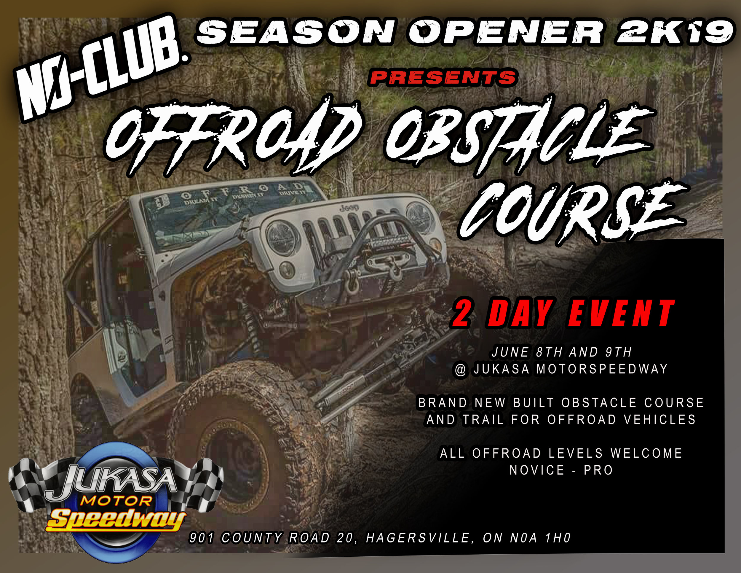 OFFROAD OBSTACLE COURSE - N0-Club and Jukasa Motor Speedway Presents:A Brand New, Custom BuiltOFF-ROAD OBSTACLE COURSEThats right! We've combined the best of all worlds in the automotive industry; show vehicles, racing enthusiast of all kinds and the rugged off road 4x4 vehicle will all find something at our event!Our Season Opener will feature an OFF-ROAD OBSTACLE COURSE both Saturday and SundayAll experience levels are welcome to participate, there will be obstacles for all levels from novice to pro.The Obstacle Course will be an additional cost on top of admission and waivers will need to be signed before you will be admitted into the off-road area.* THIS IS NOT A MUD EVENT**Prices to be Announced*