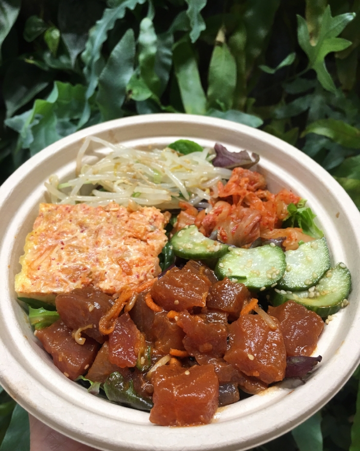 Our Korean Poke bowl construct: Base 1/2 organic greens & 1/2 white rice. Sides: kimchee tamago yaki, bean sprouts, kimchee, sunomono Poke: Korean Ahi (feat - handline caught Ahi from the Marshall Islands - never frozen or gassed)