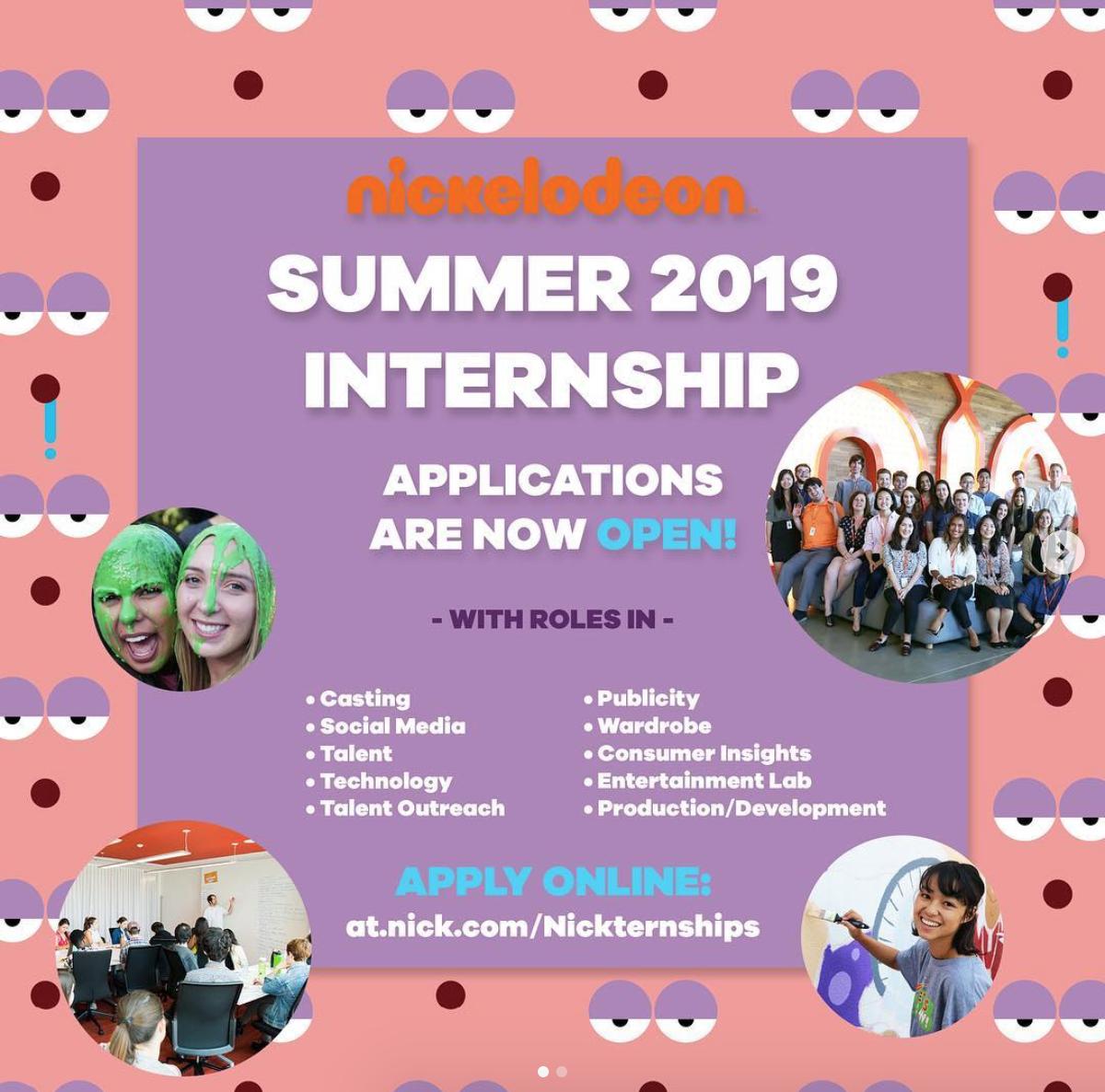 Instagram graphic for Nickelodeon internship