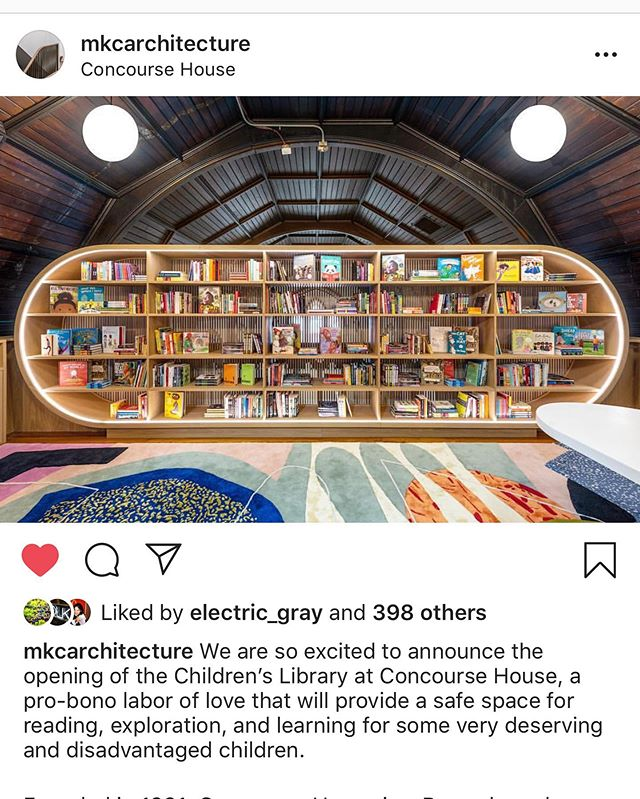 Honored to be a part of @mkcarchitecture benefit auction on @paddle8 for Concourse House. Check it out and support a good cause! ............................................................................. Established in 1991, Concourse House is a Bronx-based shelter that serves women with young children, and works to eliminate homelessness by providing these families with safe, stable, transitional housing, coupled with a range of social services and programming to help those families make successful transitions into permanent housing.  The library is an important new component of the educational resources for the children at Concourse House, and is unique among the other program spaces as a place that is specifically dedicated to books and reading, and a much needed space for volunteer and staff led readings, story times, and other events organized around books. The importance of reading for the cognitive development and emotional health of children is widely recognized, and the library is designed to provide space and opportunity for exploration and imagination for children who more often than not, do not have access to their own books.  #phaedodesign