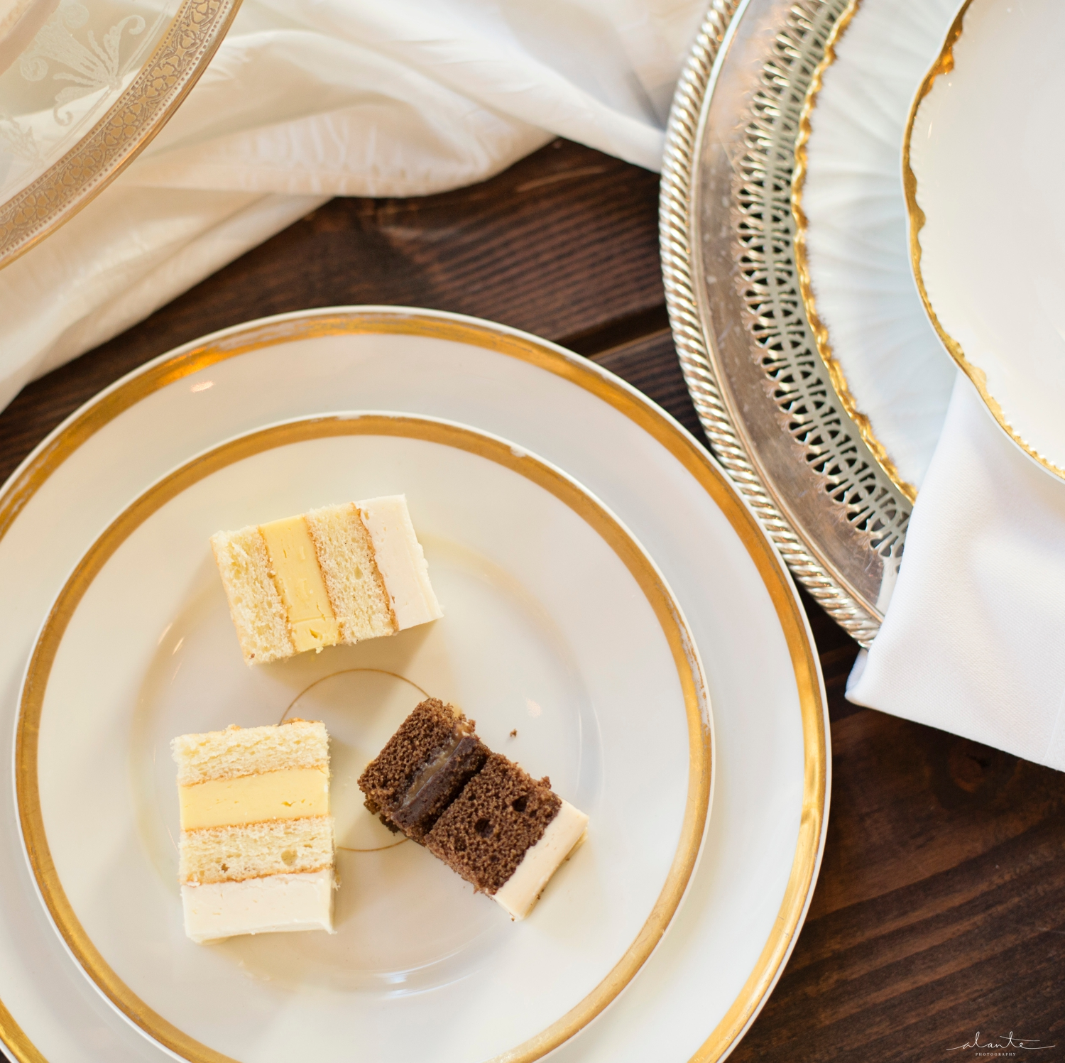 www.alantephotography.com | Cake slices on vintage gold plates | Lilac Cake Boutique | Alante Photography