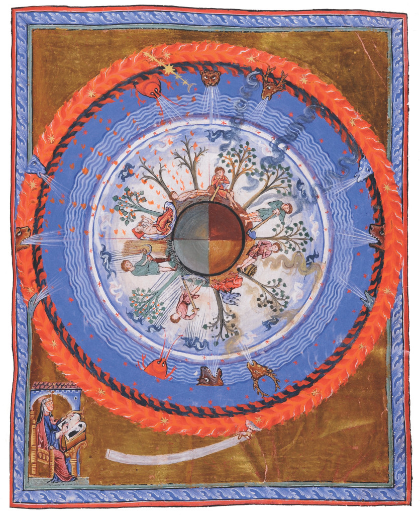 1210-30: In this illumination from a late work by the prolific medieval visionary writer, composer, and proto-feminist Hildegard von Bingen, the four seasons of a spherical Earth are represented. Although produced after her death in 1179, the illustration is thought to follow her original design. Knowledge of the spherical Earth dates back to the Greek philosophers of about the sixth century b.c., with Pythagoras said to have been among the first to describe it. By the eighth century a.d. and the early medieval period, the shape of the planet was well established. Credit: State Library of Lucca.