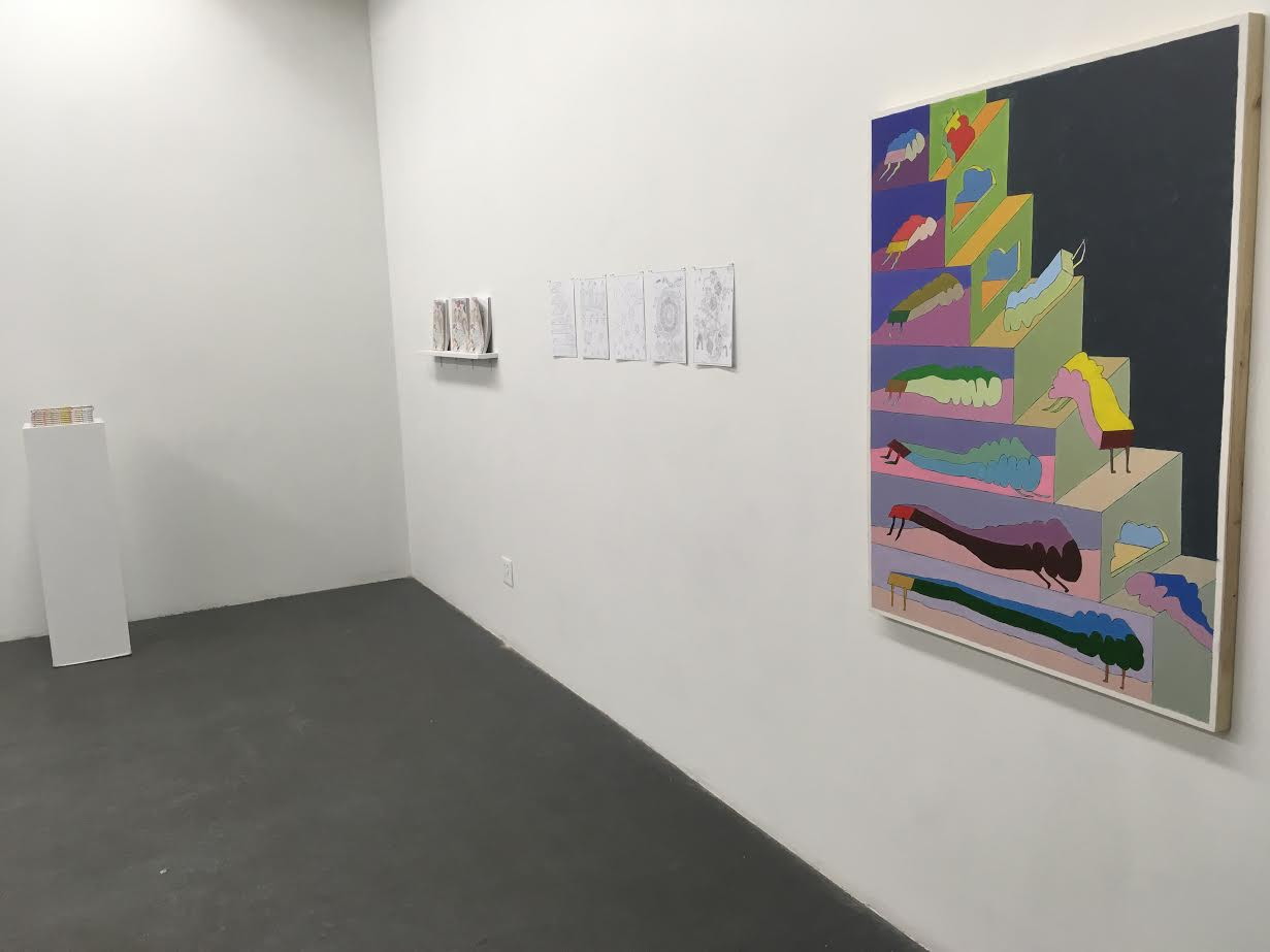 "Page 14,  Rainbow Staircase , as a painting (acrylic on panel, 34"" x 44"" installed at Dynamo Arts Society, 2018."