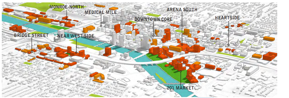 "201 Market (lower right) is the ""mystery location"" beginning development in 2017 (GR Forward Executive Summary)."