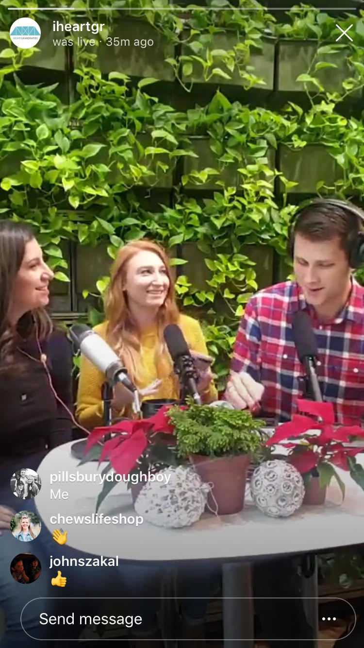 Tiffany, Aubrey, and Luke recording the iheartGrandRapids Podcast LIVE on Instagram TV.