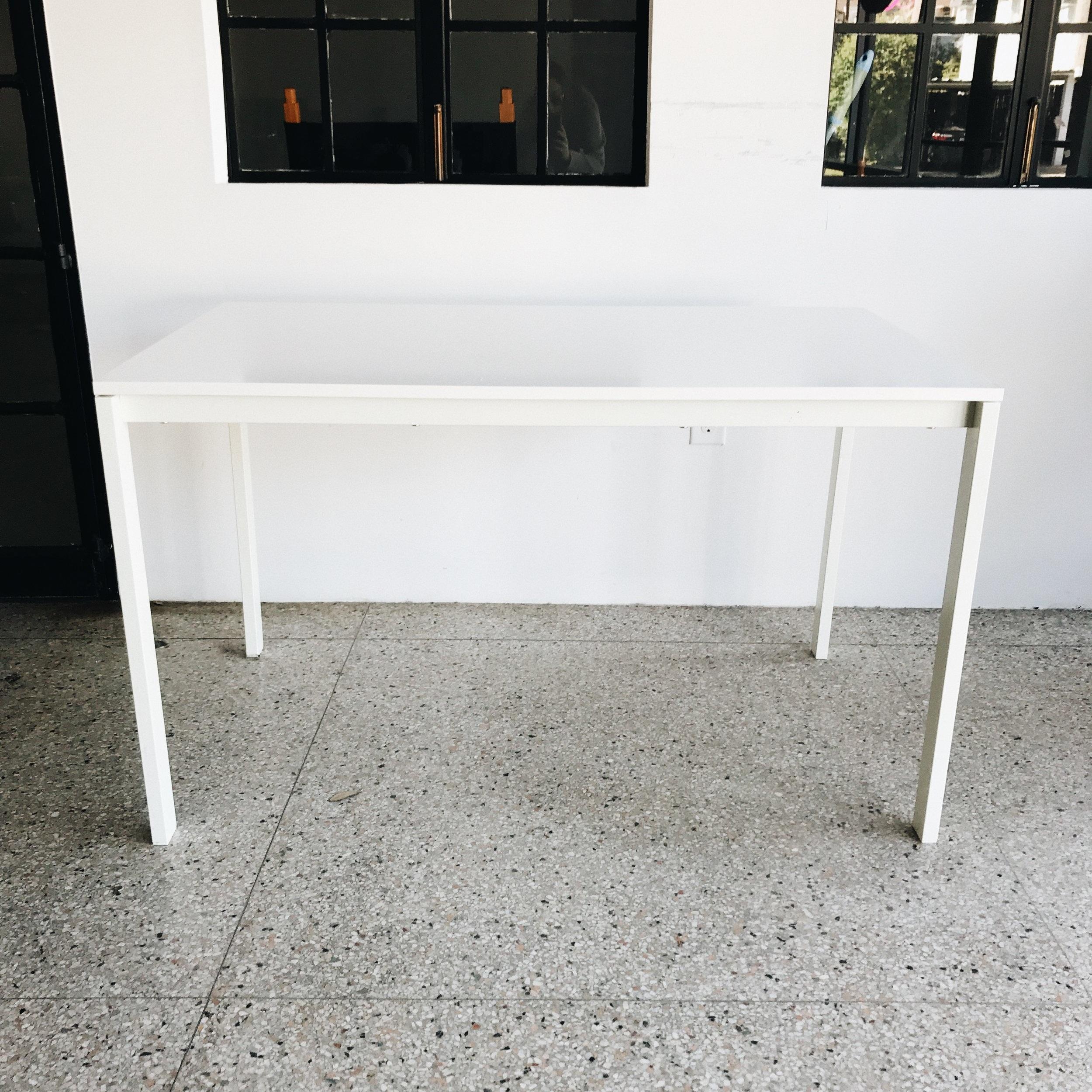 "White Wood Desk (49""x29.5"")   Price: $45"
