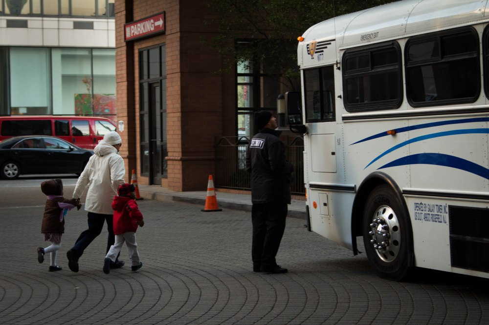 Election Day 2012: A voter arrives at her polling station in Manhattan.