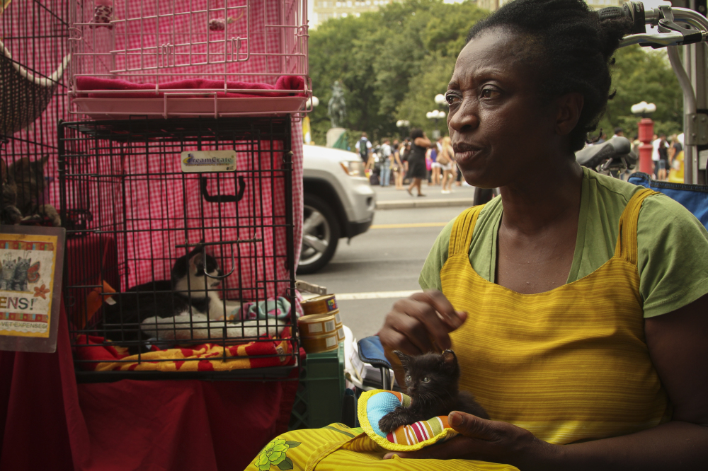 """Aug. 22, 2012: Patricia runs a shelter for homeless animals called """"Hope for Kitties inc."""" and holds adoption events in Union Square."""