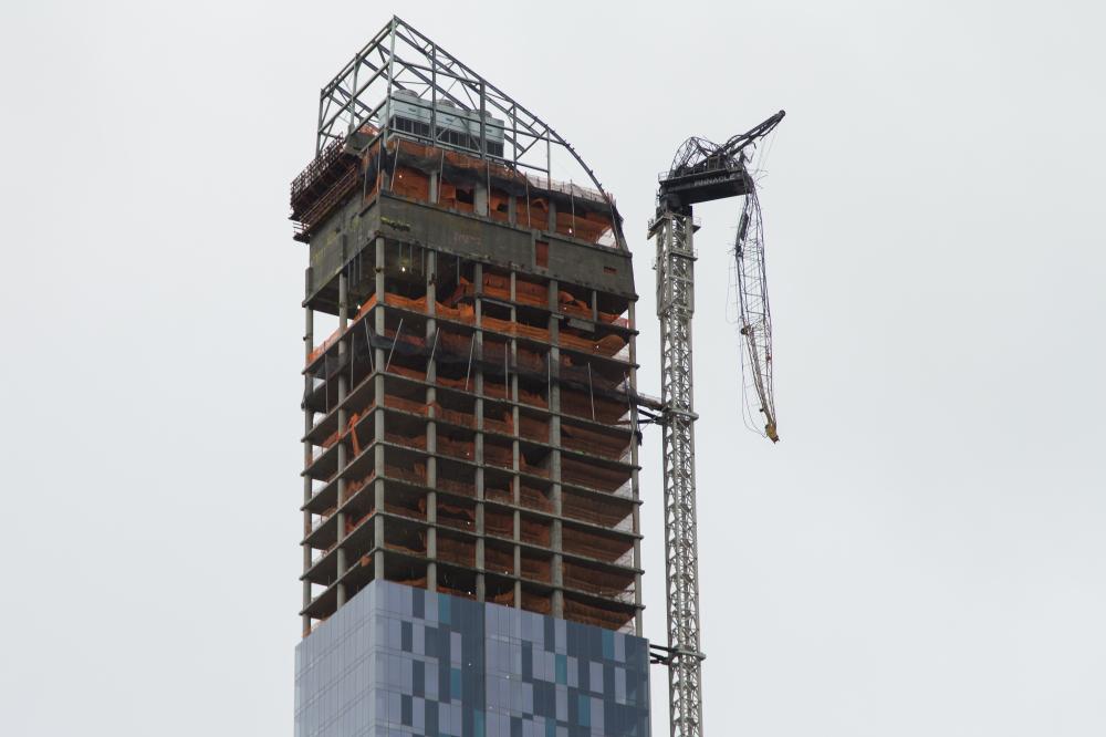 Crane broken as a result of Hurricane Sandy in Manhattan, New York.