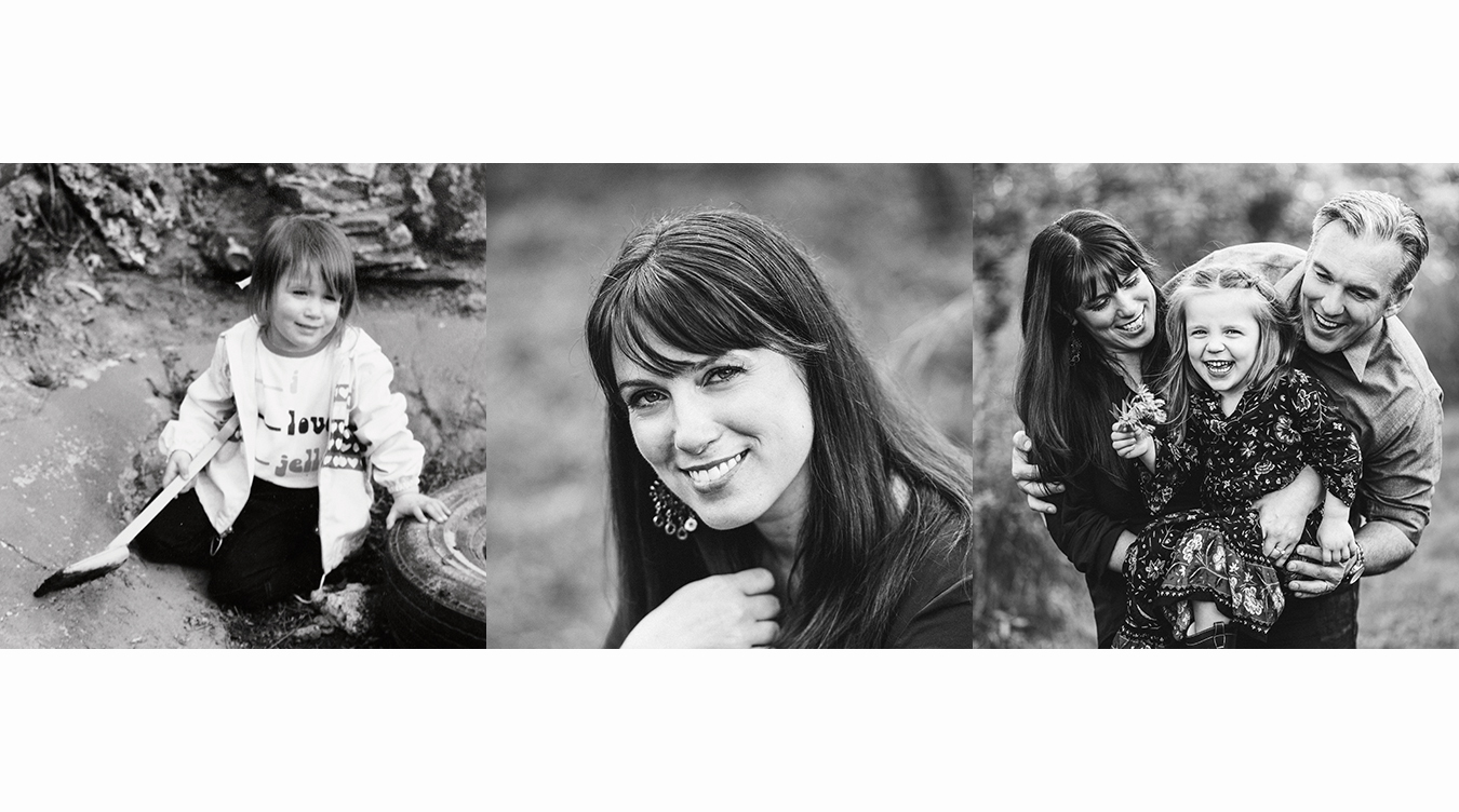 From Left to Right: 1983 me taken with my dad's film camera, me currently and me with my beautiful daughter and amazing husband.