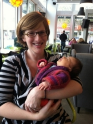 Me at the Green Bean with a 4-week-old Norah