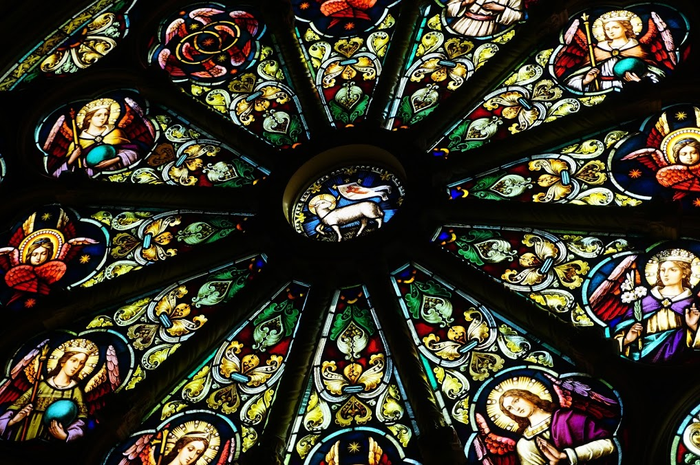 A Detail Of The Rose Window:The Twelve Angels Around The Periphery Symbolize The Twelve Apostles And Twelve Tribes Of Israel