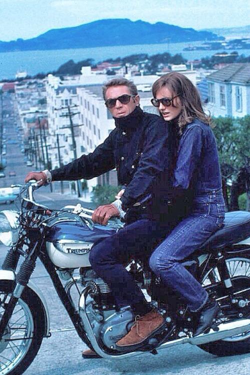 Steve McQueen and Jacqueline Bisset During The Filming Of  Bullitt ( courtesy of http://neoretro.tumblr.com)
