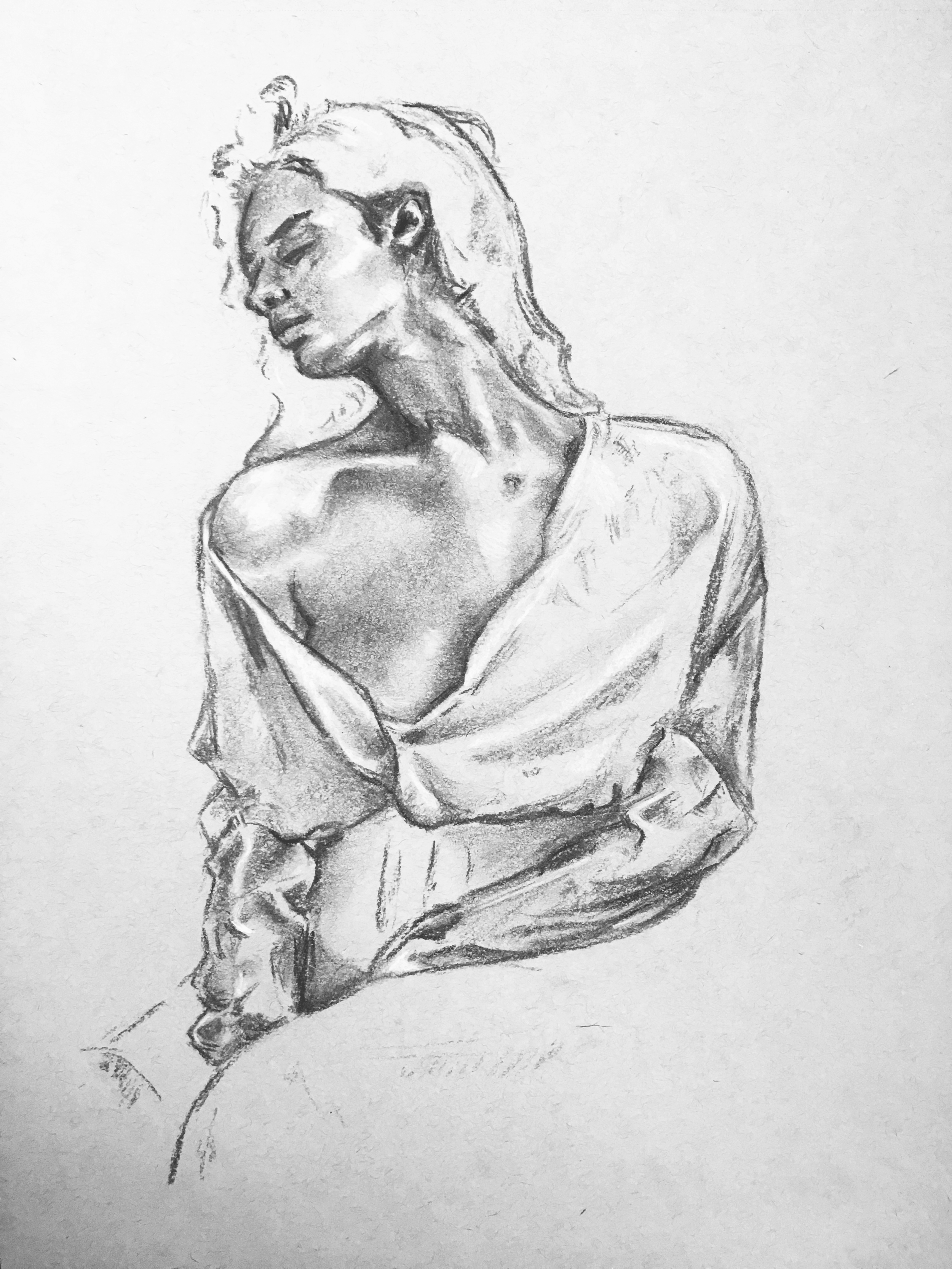 Willow charcoal on A3 toned grey sketch paper