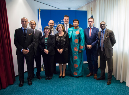 Together with the Drafting Committee of the International Criminal Coourt Bar Association, meeting the President, Prosecutor and Registrar of the ICC, 17 September 2015