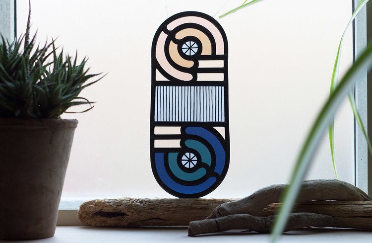 Loop d Loop - a series of contemporary stained glass pieces by Flora Jamieson and Vicki Turner