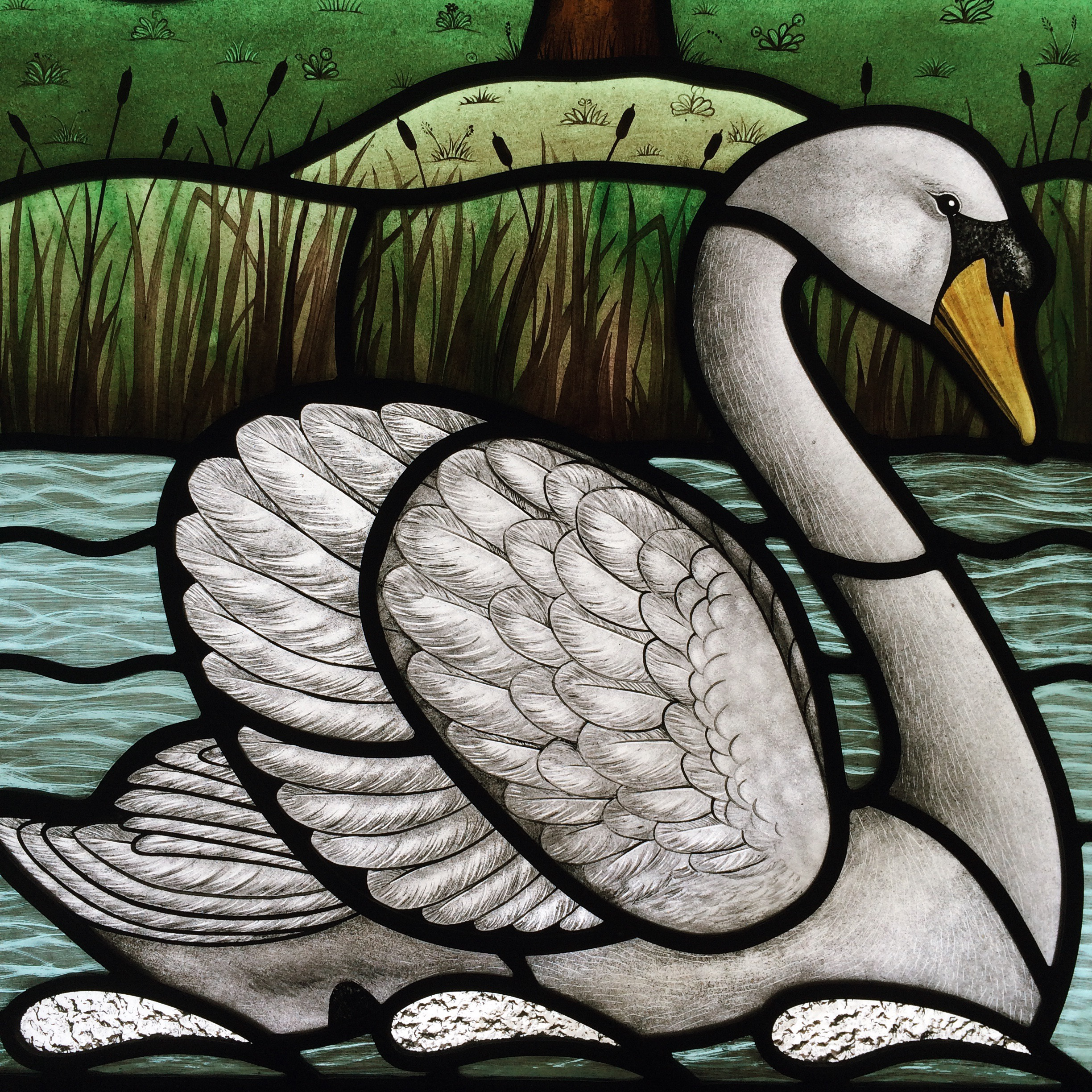 Detail of Swan and Pond Windows