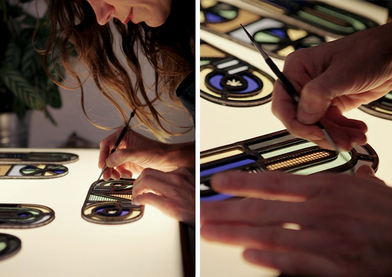 Stained glass artist Flora Jamieson works on some contemporary pieces she is making in collaboration with designer Vicki Turner