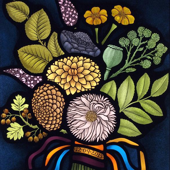 Contemporary stained glass wedding bouquet dahlias flora jamieson #1.jpg