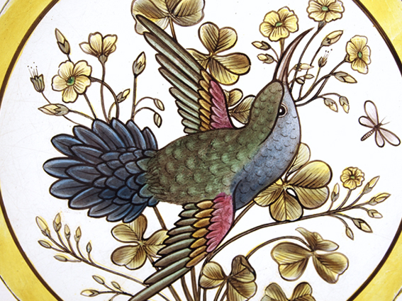 Victorian style painted stained glass hummingbird roundel #1