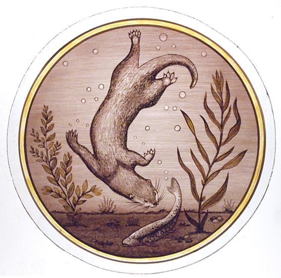 Stained Glass Otter Roundel