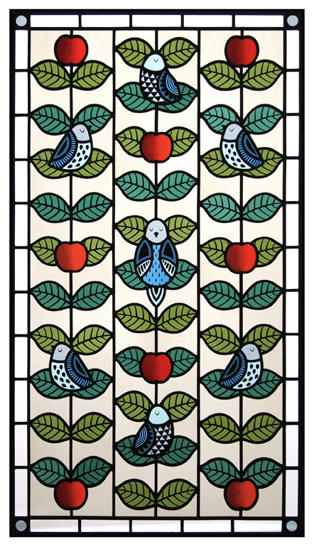 Contemporary Stained Glass Front Door Panel - Birds & Apples