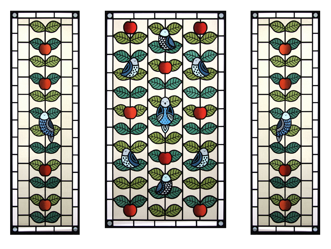 CONTEMPORARY STAINED GLASS BIRDS & APPLES FLORA JAMIESON LR.jpg