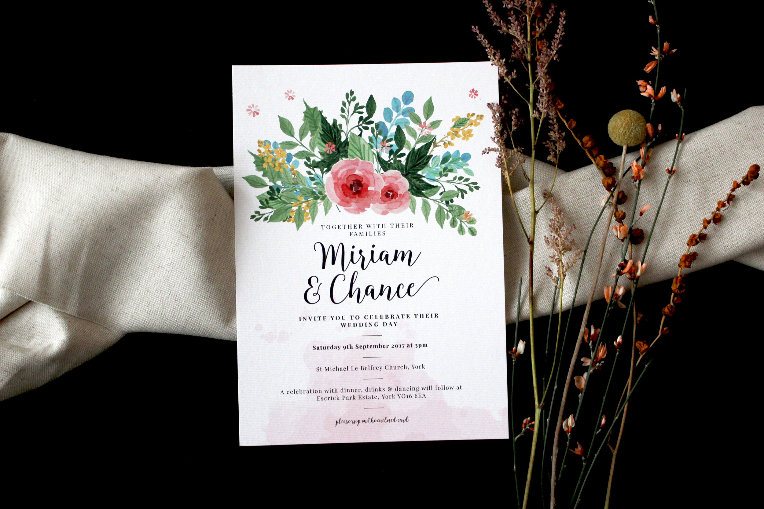 Miriam & Chances wild floral invitations