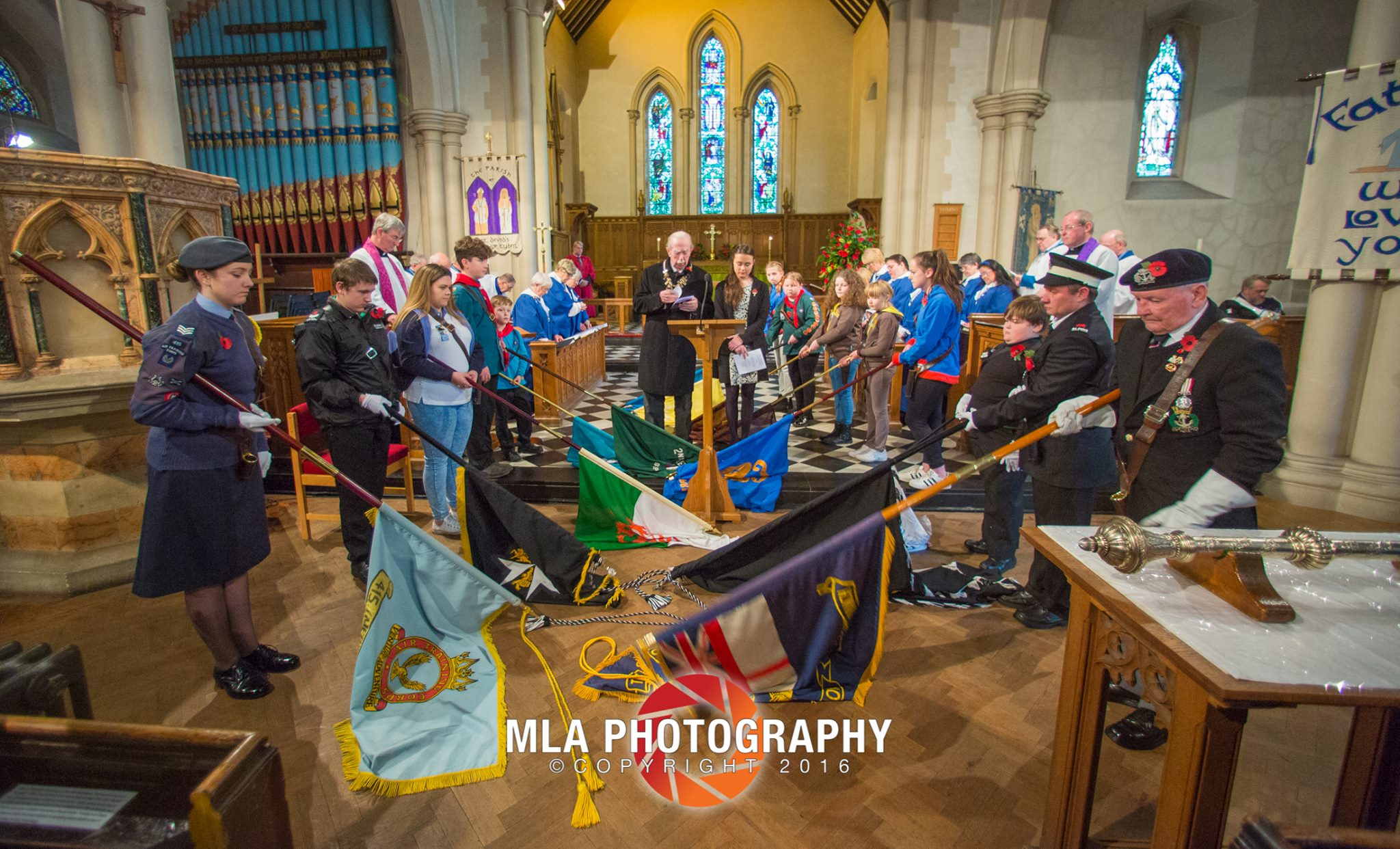 Standards lowered at St David's on Remembrance Sunday