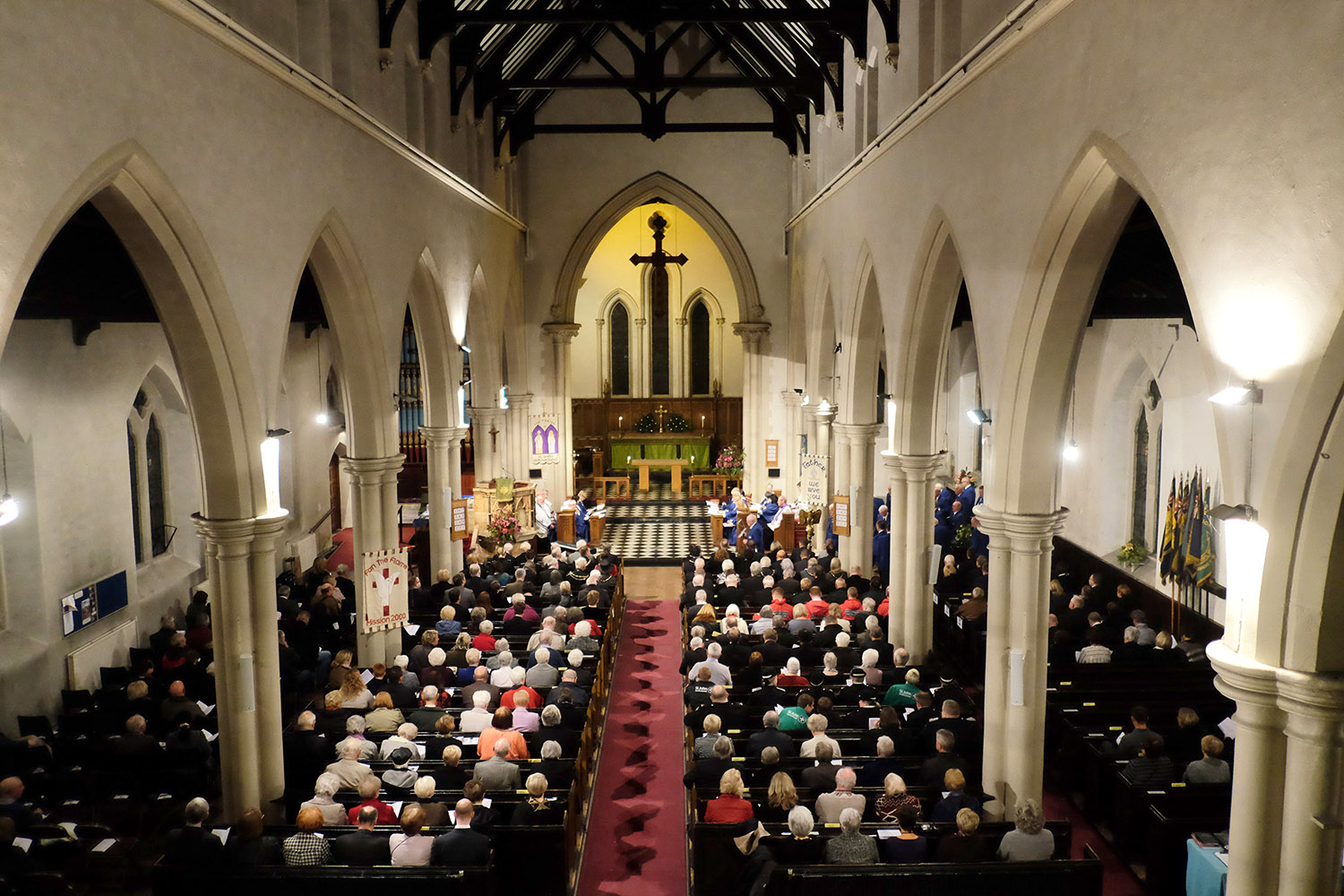 A packed St David's Church for the Aberfan Memorial Service