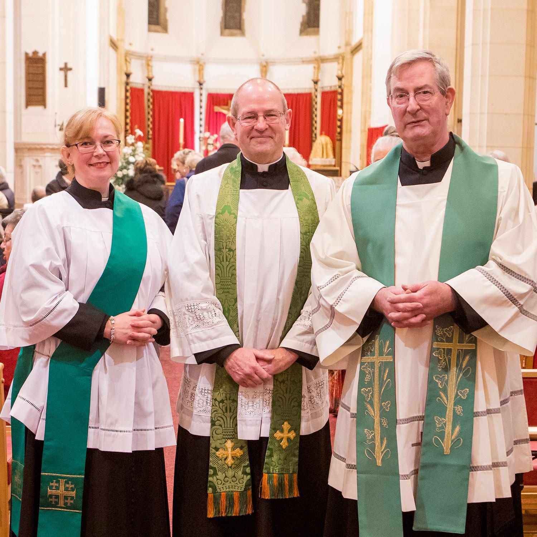 Rev Charlotte, Fr Mark and Fr John